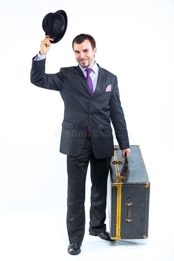 resväska för stående för stora affärerman gammal fotografering för bildbyråer