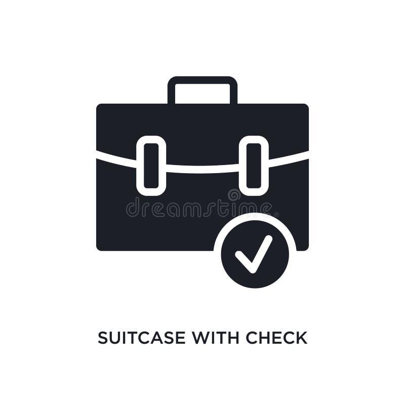 resväska med den kontroll isolerade symbolen enkel beståndsdelillustration från ultimata glyphiconsbegreppssymboler resväska med  vektor illustrationer