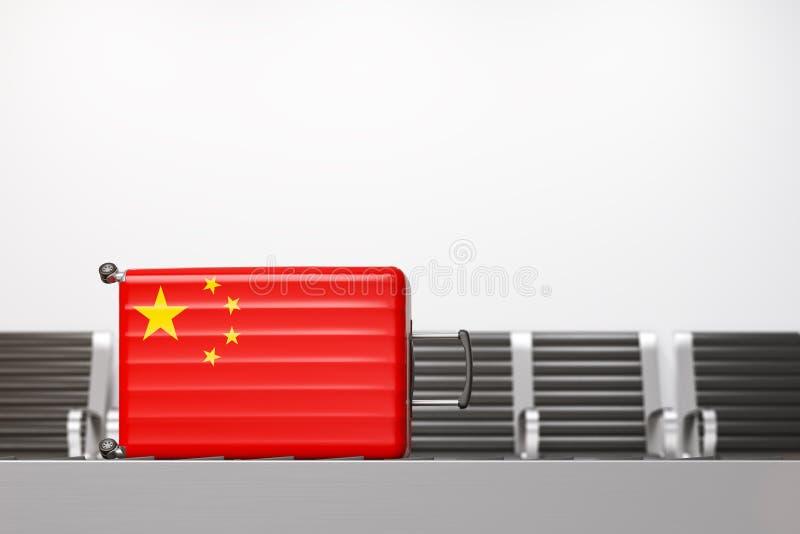 Resväska med nationsflaggan av Kina royaltyfri illustrationer