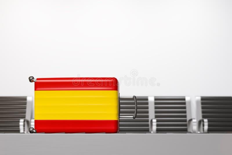 Resväska med nationsflaggan av Spanien vektor illustrationer