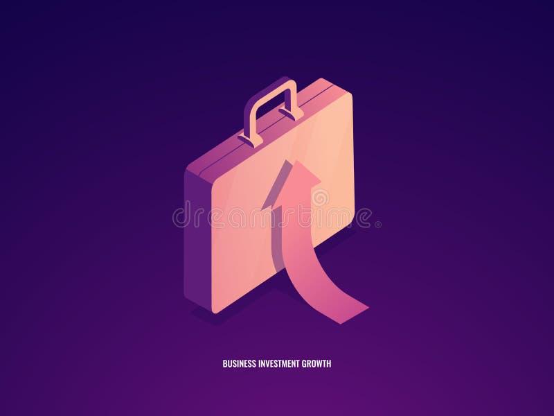 Resväska med pilen upp, isometriska karriärtillväxt, affärsledning och investmenframgång stock illustrationer