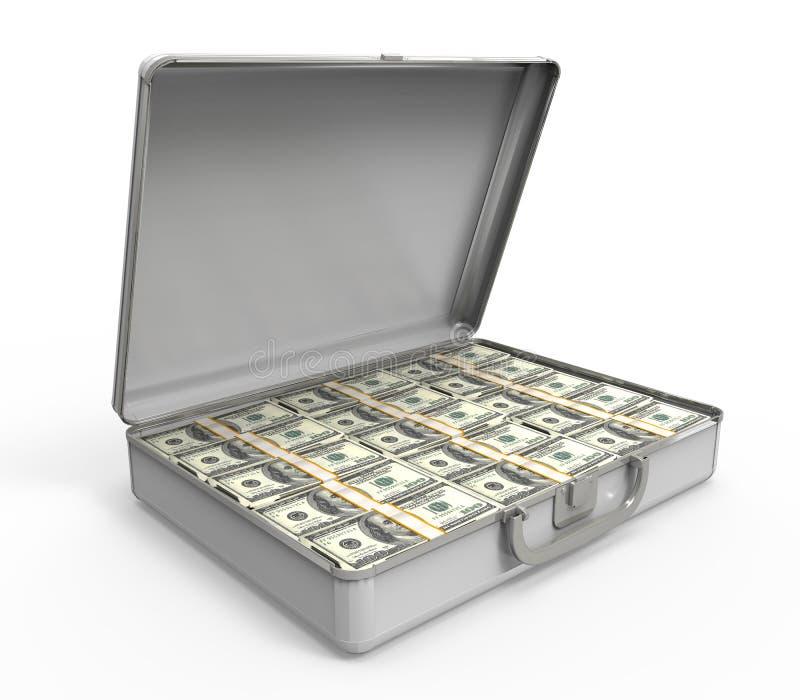 Resväska mycket av pengar royaltyfri illustrationer