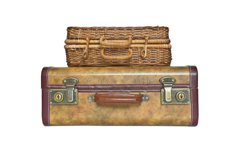 Resväska och stam som isoleras på vit bakgrund royaltyfria bilder