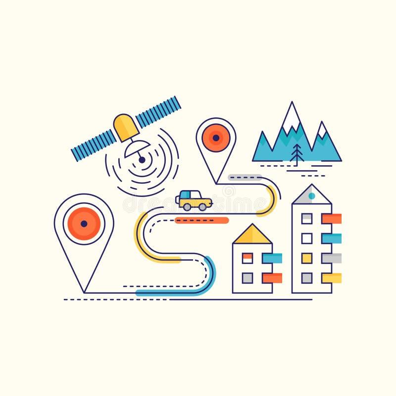 Resväska på stranden med havsstjärnorna GPS navigering Infographic vektor illustrationer