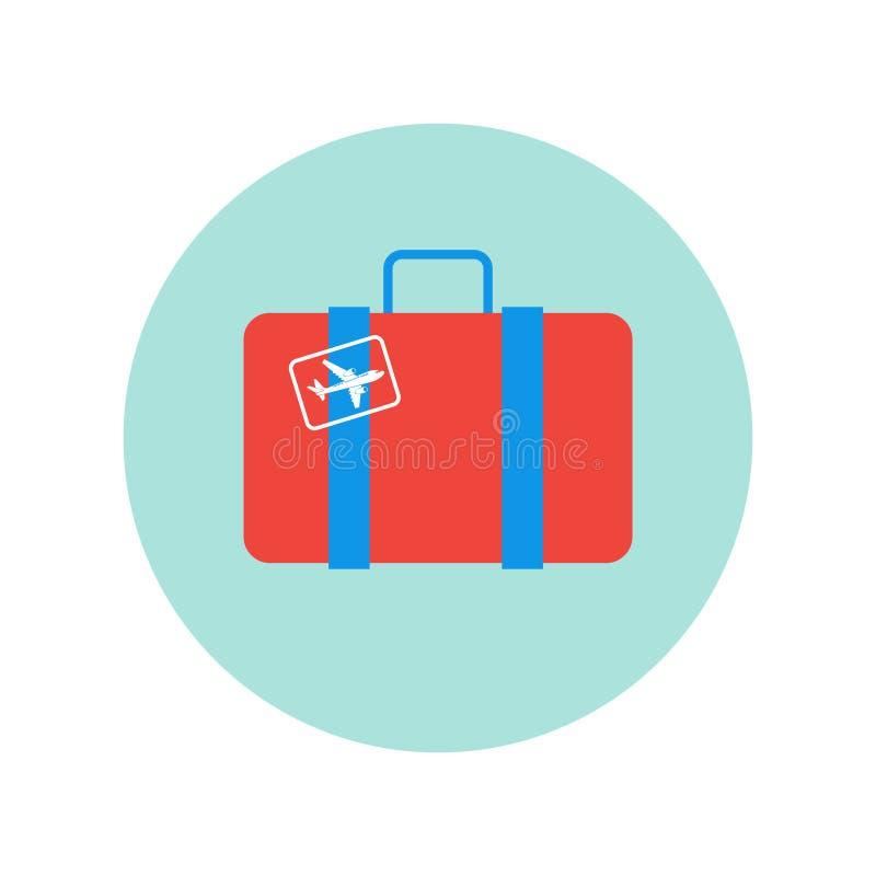 Resväska som är retro med det plan för loppbagage för klistermärke symbol isolerade fallet royaltyfri illustrationer