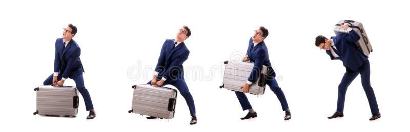 Resväskan för laddningar för affärsmanfasadbeklädnadöverskott den tunga tack vare arkivfoto