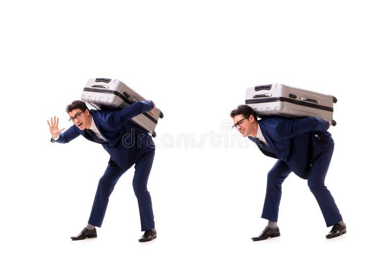 Resväskan för laddningar för affärsmanfasadbeklädnadöverskott den tunga tack vare royaltyfria foton