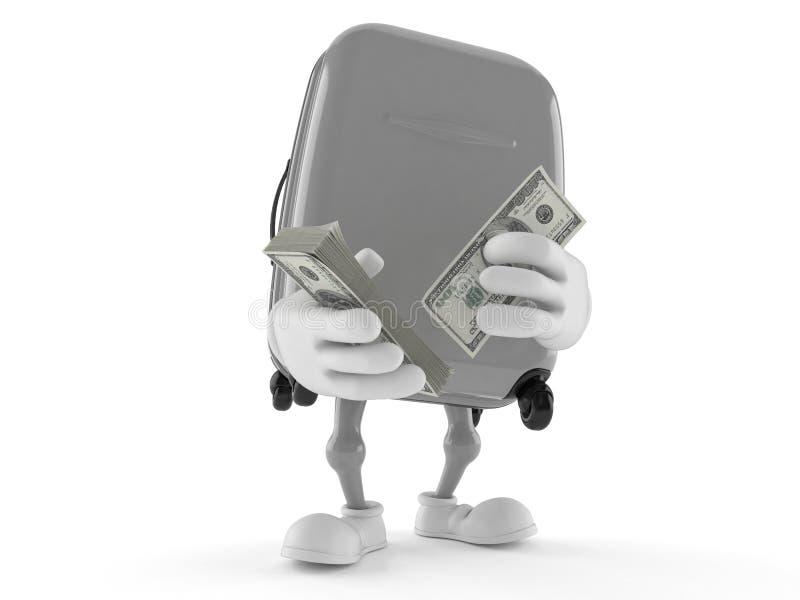 Resväskatecken som räknar pengar stock illustrationer