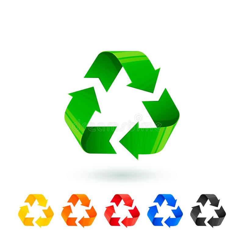 Resycle icons set. Waste sorting, segregation. Different colored recycle signs. Waste management concept. Separation of royalty free illustration