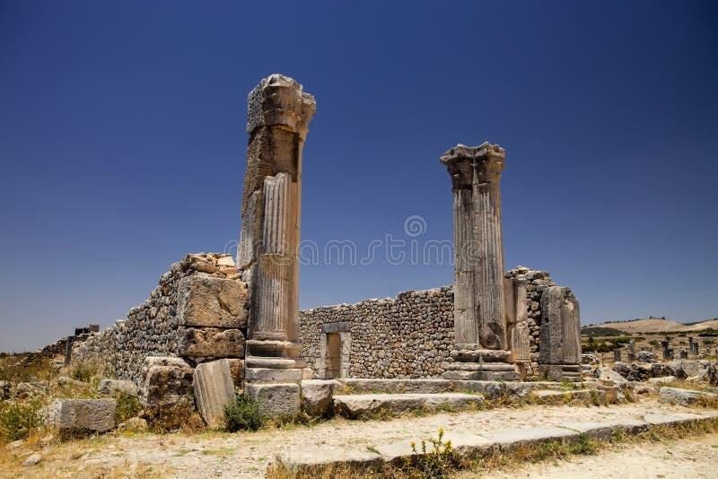Resztki Romańscy zabytki Volubilis, Maroko zdjęcie stock