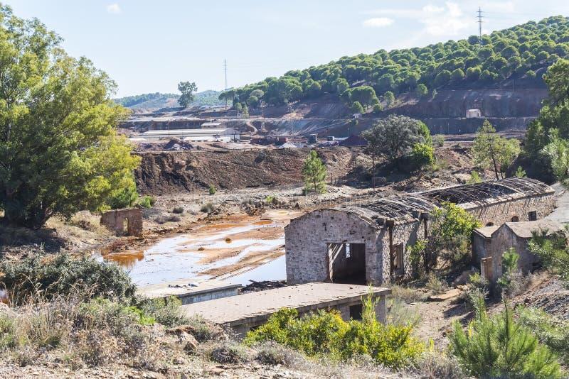 Resztki stare kopalnie Riotinto w Huelva Hiszpania zdjęcia stock
