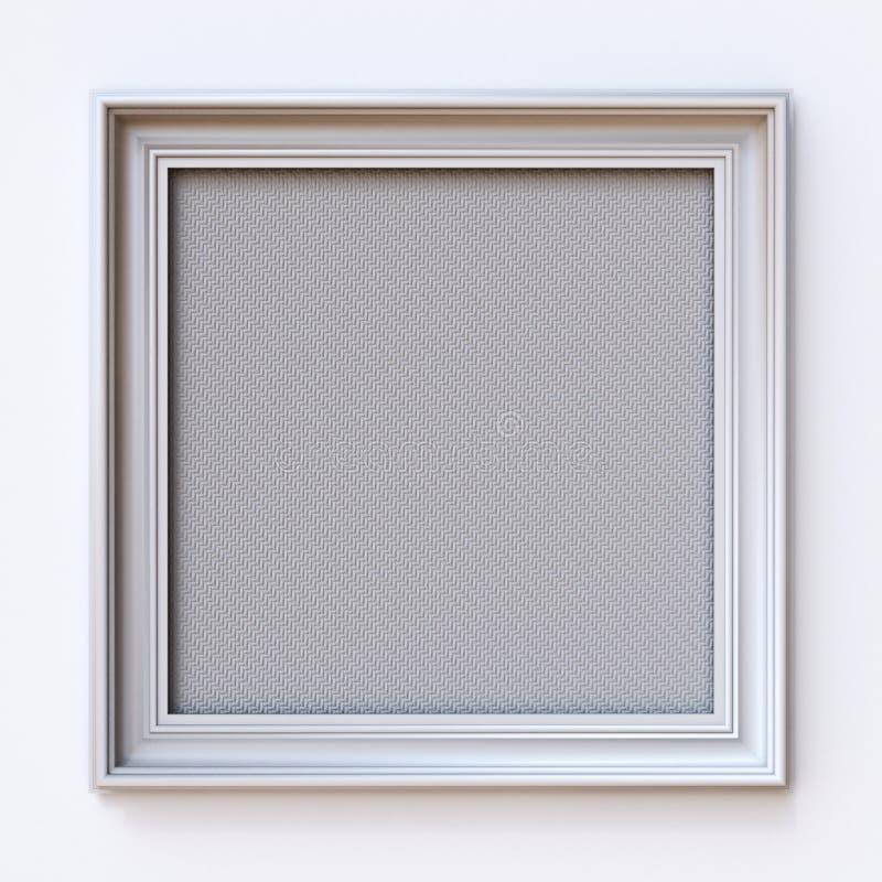 Retângulo branco 3D da moldura para retrato da lona ilustração stock