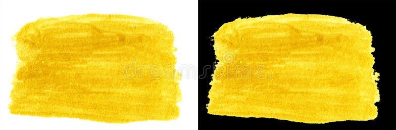 Retângulo colorido da mancha da garatuja do ouro amarelo fotos de stock royalty free