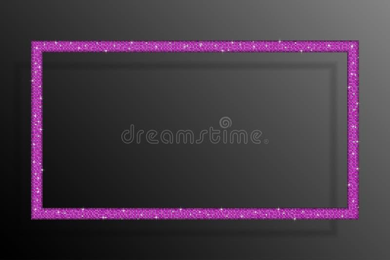 Retângulo cor-de-rosa das lantejoulas do quadro Brilho, faísca ilustração do vetor