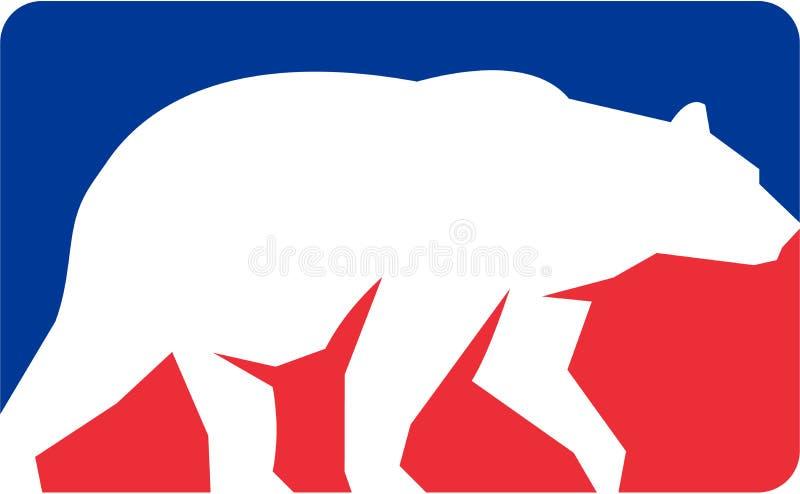 Retângulo de passeio da silhueta do urso pardo retro ilustração stock