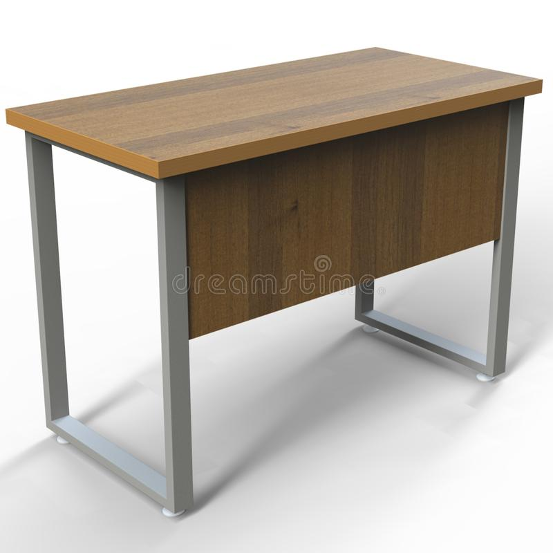Retângulo industrial da grão da tabela de madeira moderna com quadro preto do metal para o escritório ilustração stock