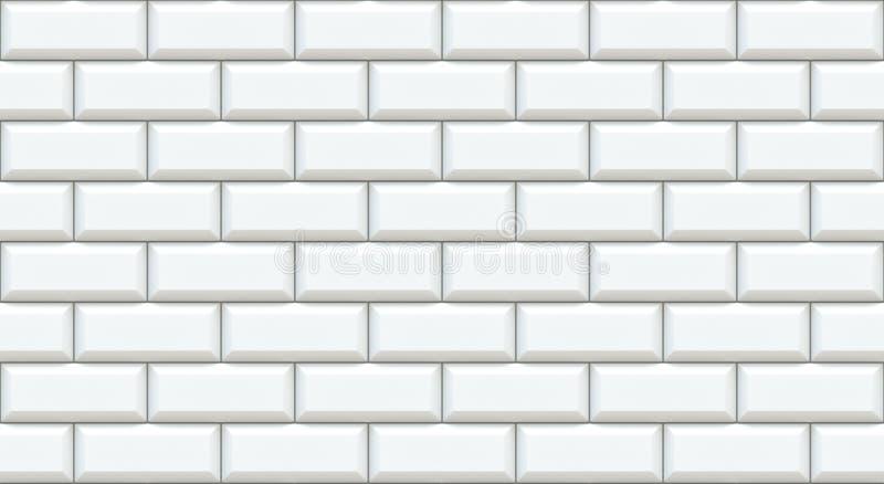 Retângulos brancos da parede de tijolo com borda chanfrada Fundo vazio O vintage obstrói-se Interior do projeto da sala Contexto  ilustração stock