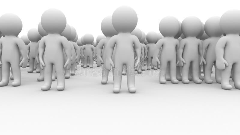 retén enorme de la muchedumbre de la gente de los seres humanos de la historieta 3d ilustración del vector