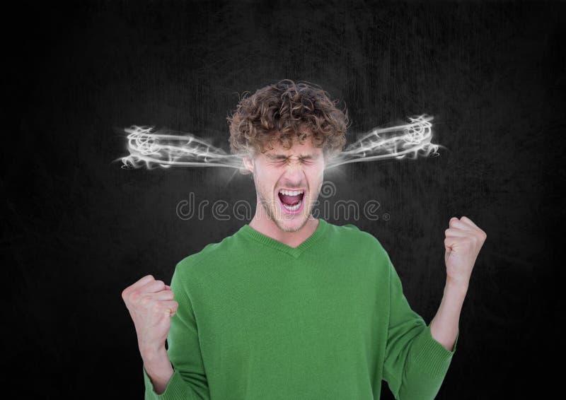 reta upp den unga mannen som ropar med ånga på öronen vektor illustrationer