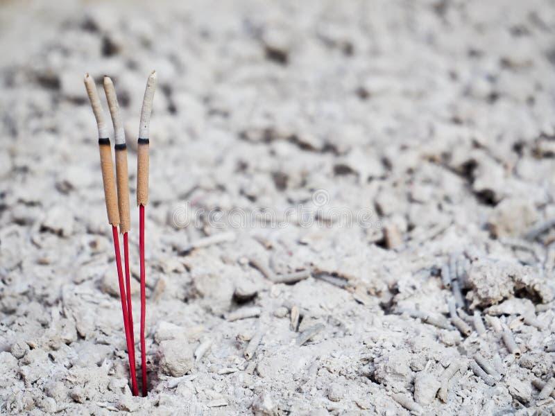 Reta upp pinnar och aska i rökelsegasbrännare royaltyfri bild