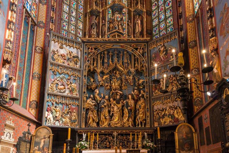 Retable Veit Stoss (autel de St Marys) - Cracovie (Cracovie) - la Pologne image libre de droits