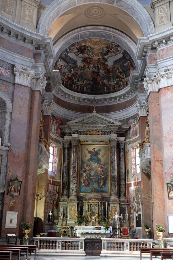 Retablo de la trinidad, iglesia San Giacomo en Augusta en Roma fotografía de archivo libre de regalías