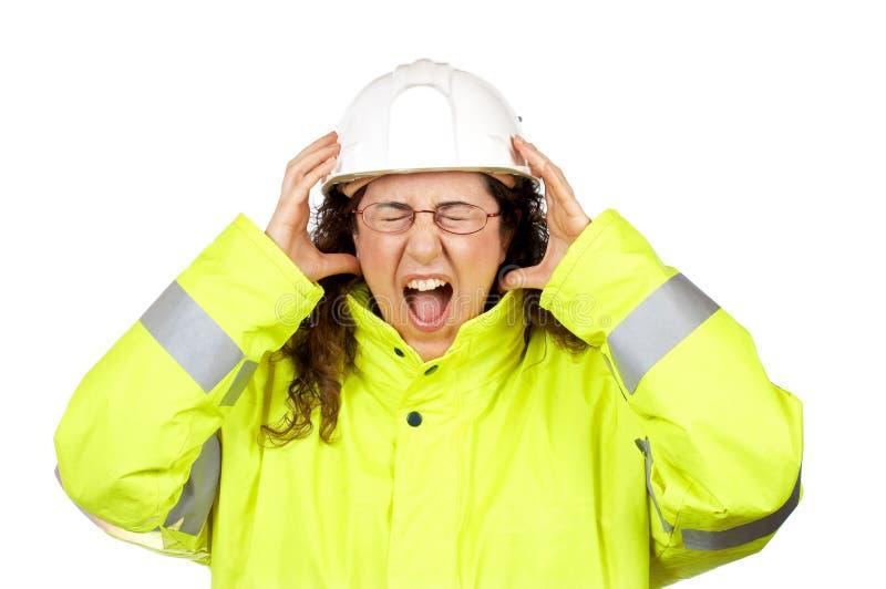 retad upp konstruktionskvinnligarbetare arkivbild