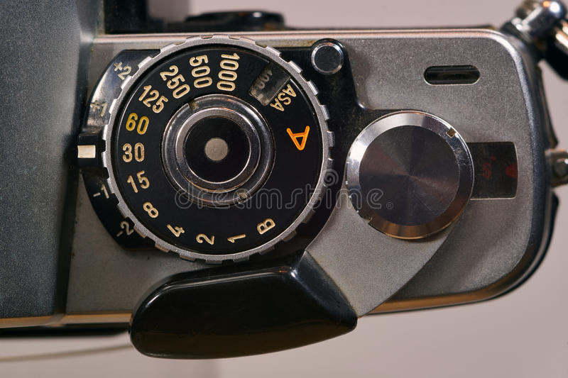 Retail analog photo camera. Type SLR stock photo