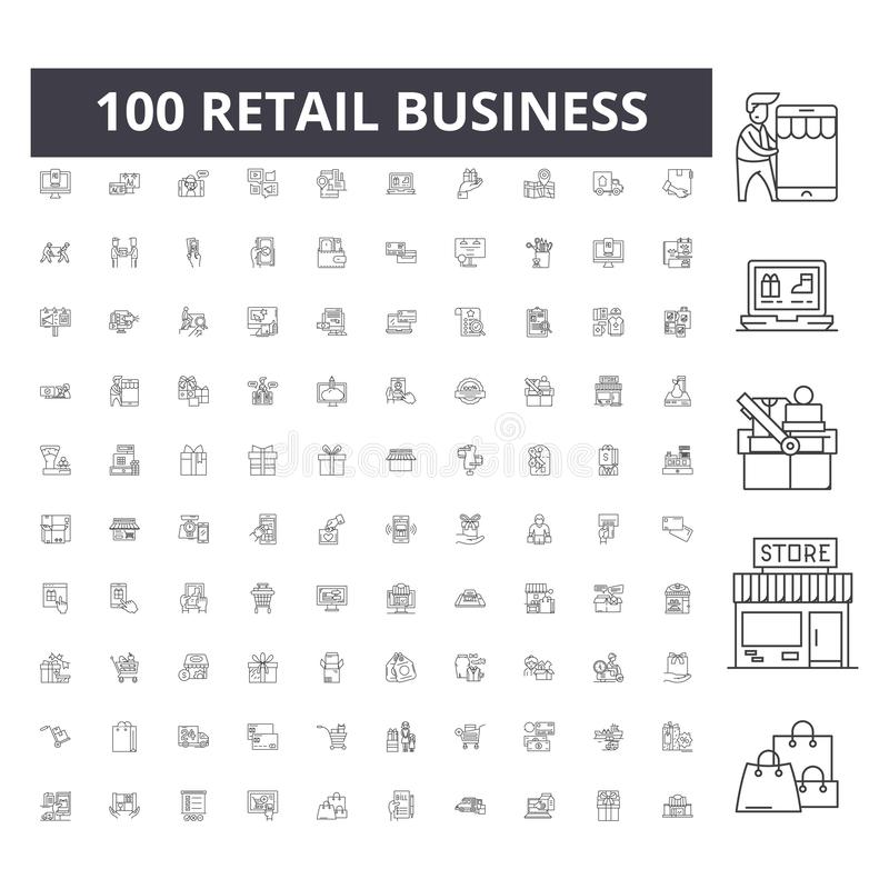 Retail business line icons, signs, vector set, outline illustration concept vector illustration