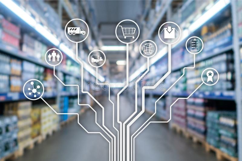 Retail concept marketing channels E-commerce Shopping automation on blurred supermarket background. Retail concept marketing channels E-commerce Shopping stock photos
