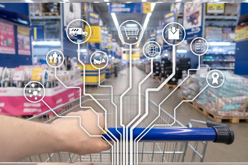 Retail concept marketing channels E-commerce Shopping automation on blurred supermarket background. Retail concept marketing channels E-commerce Shopping stock image