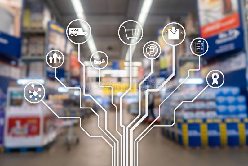 Retail concept marketing channels E-commerce Shopping automation on blurred supermarket background. Retail concept marketing channels E-commerce Shopping royalty free stock photos