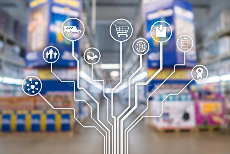 Retail concept marketing channels E-commerce Shopping automation on blurred supermarket background. royalty free stock image