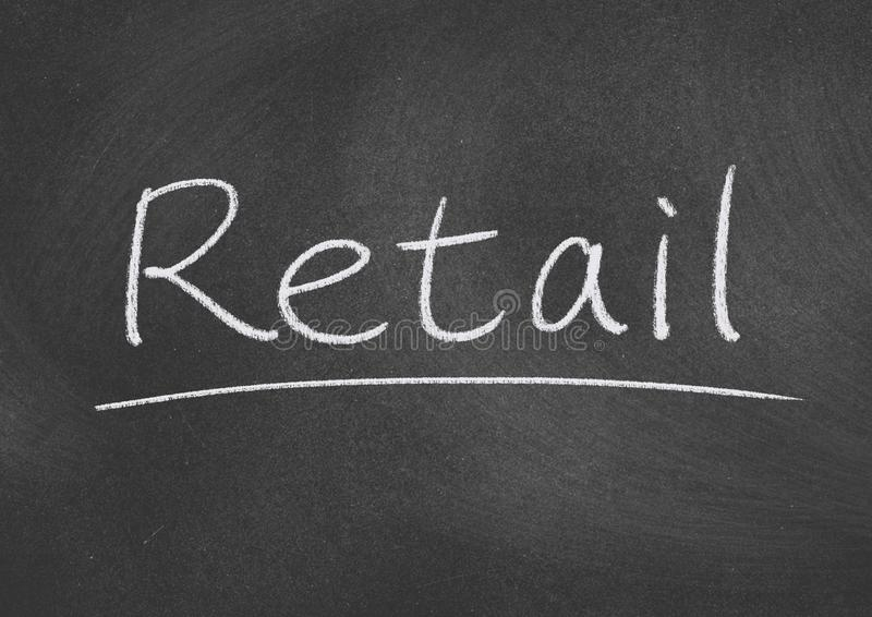 Retail. Concept word on blackboard background royalty free stock photography