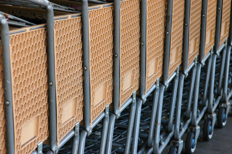 Retail Image of a Row of Shopping Carts stock photography
