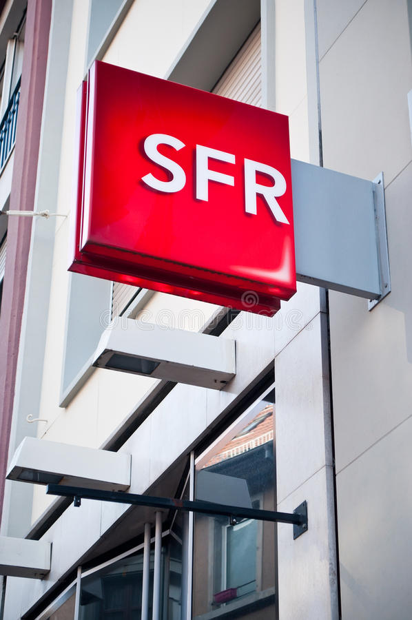 Retail of the logo of the brand SFR the phone operator signage. MULHOUSE - France 15 May 2016 - retail of the logo of the brand SFR the phone operator signage royalty free stock photo