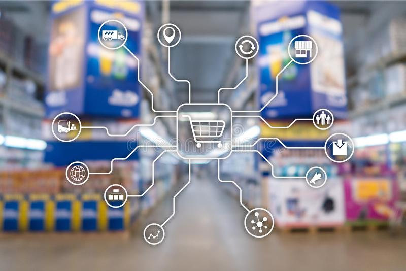Retail marketing channels E-commerce Shopping automation concept on blurred supermarket background. stock image