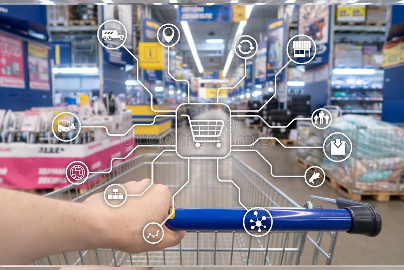 Retail marketing channels E-commerce Shopping automation concept on blurred supermarket background. royalty free illustration