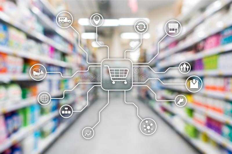 Retail marketing channels E-commerce Shopping automation concept on blurred supermarket background. Retail marketing channels E-commerce Shopping automation royalty free stock photography