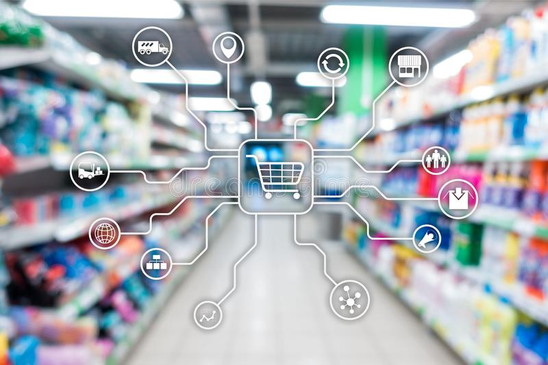 Retail marketing channels E-commerce Shopping automation concept on blurred supermarket background. royalty free stock photos