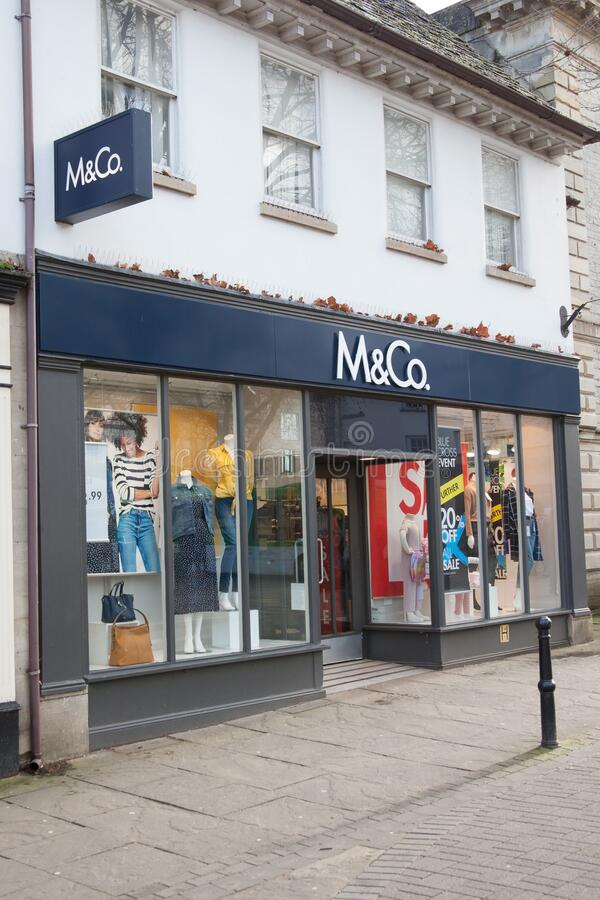 The retail outlet M and Co in Witney, UK. Witney, Oxfordshire, UK 02 28 2020 The retail outlet M and Co in Witney, UK royalty free stock images