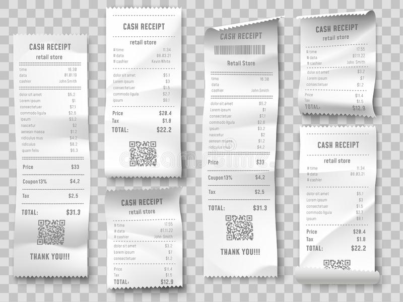 Retail purchase bill. Supermarket shopping receipt, sum invoice check and total cost store sale paper isolated vector stock illustration
