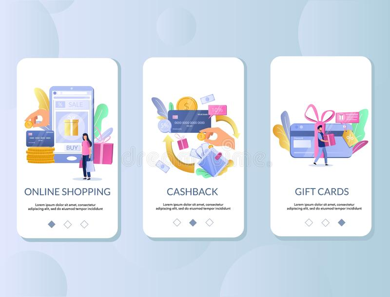 Retail rewards mobile app onboarding screens vector template royalty free illustration