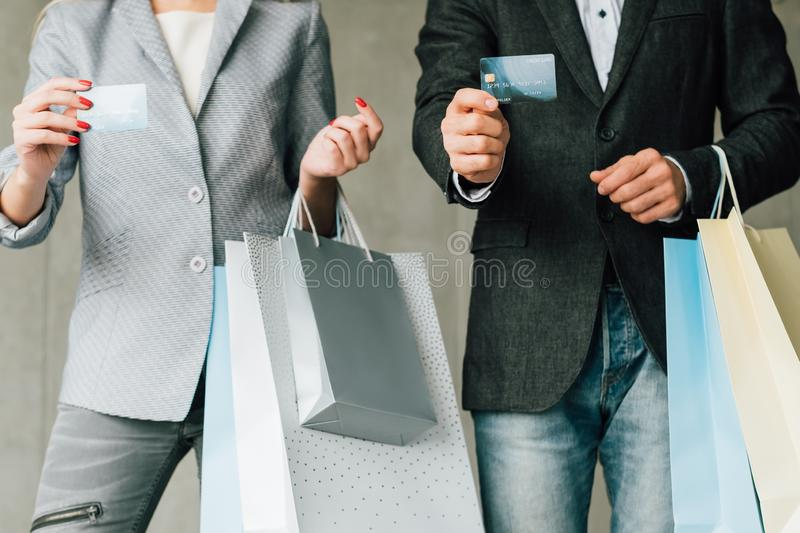Retail sale family shopping leisure credit card royalty free stock images