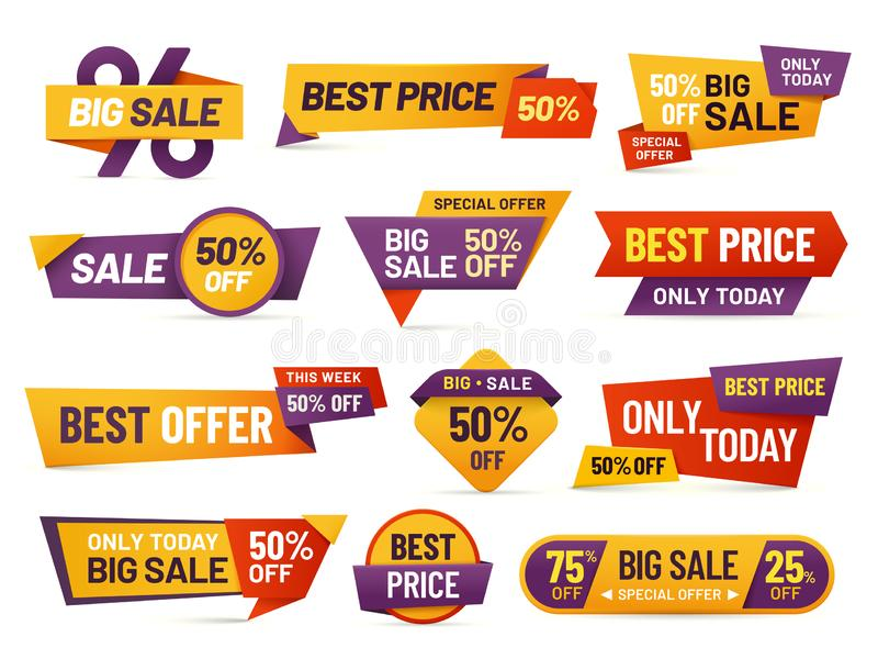 Retail sale tags. Cheap price flyer, best offer price and big sale pricing tag badge design isolated vector collection royalty free illustration