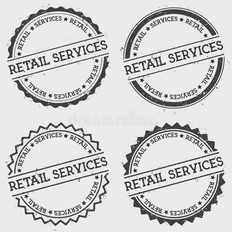 Retail services insignia stamp isolated on white. Retail services insignia stamp isolated on white background. Grunge round hipster seal with text, ink texture royalty free illustration