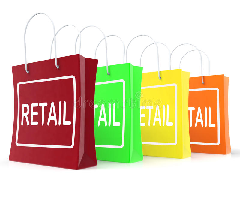 Retail Shopping Bags Shows Buying Selling Merchandise Sales. Retail Shopping Bags Showing Buying Selling Merchandise Sales stock illustration