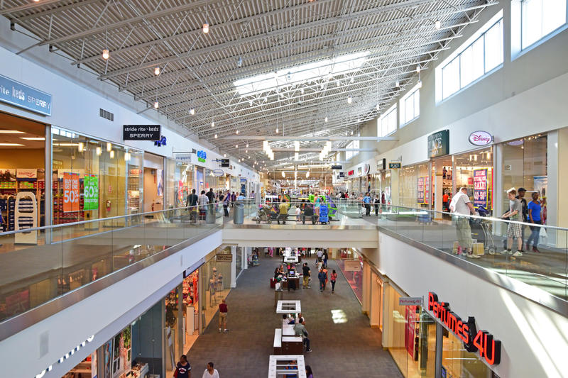 Retail Shops inside of Willowbrook Mall. Which is a two-level, major shopping center located in Wayne, New Jersey, United States royalty free stock photos