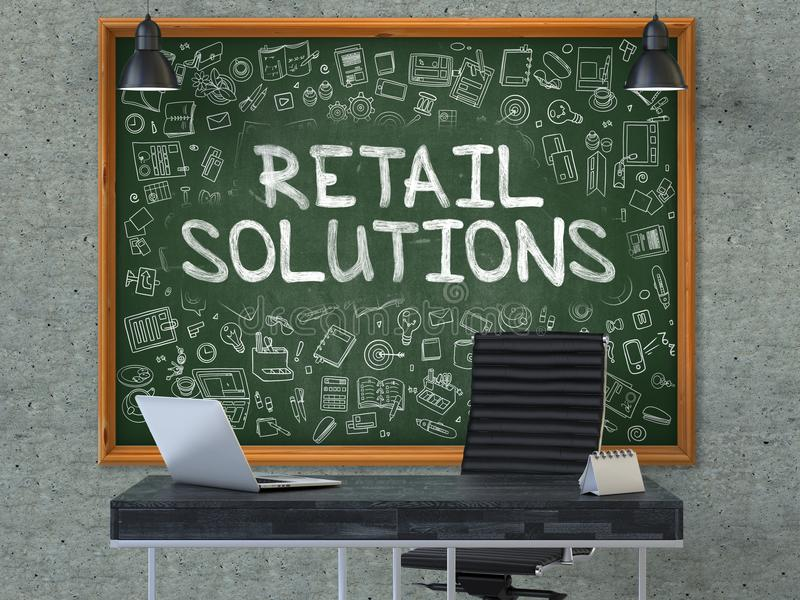 Retail Solutions Concept. Chalkboard on the Office Wall. 3d. Green Chalkboard on the Gray Concrete Wall in the Interior of a Modern Office with Hand Drawn Retail stock image