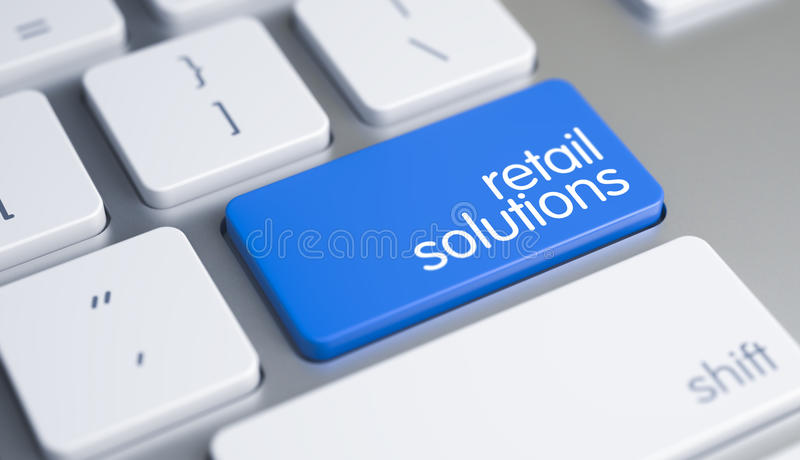 Retail Solutions - Inscription on Blue Keyboard Button. 3D. High Quality Render of a White Keyboard Button. The Key is Blue in Color and there is Inscription stock illustration